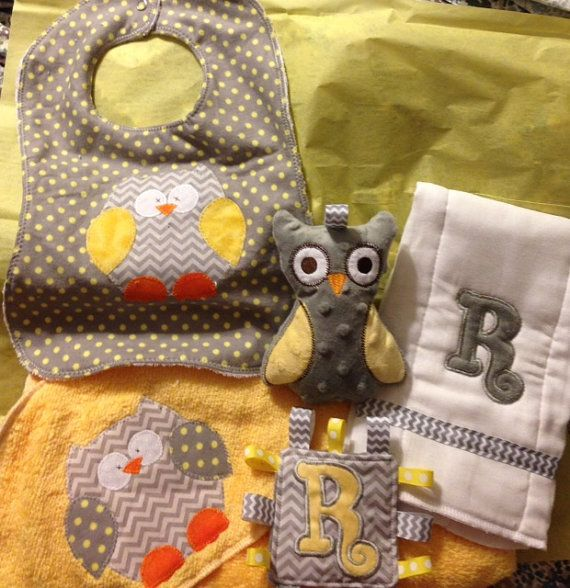 Personalized baby gift set- hooded towel, owl, bib, burp cloth, and mini tag-a-long. on Etsy, $38.00
