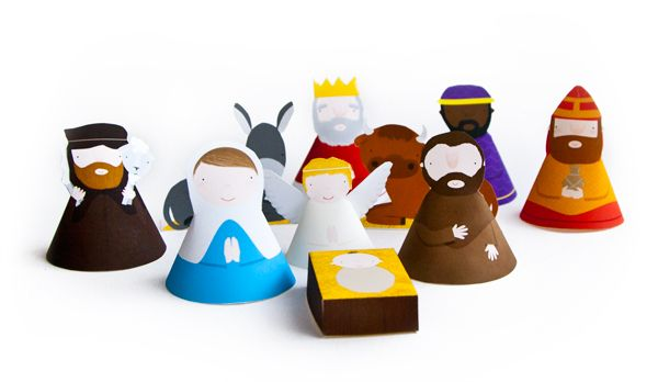 cutest little printable nativity (in precolored AND color yourself versions)- great mailable for far away cousins!  Cut yourself, stick in envelope with double sided tape bits, and let them put together to play when it gets there!