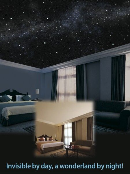 breathtakingly realistic illusionary mural of the starry night sky painted directly on your ceiling and even walls with the lights on your room looks