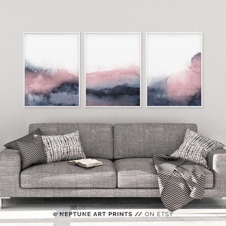 Set Of 3 Piece Wall Art Printable Print Set Pink Blue Prints Blush Pink And Grey Wall Art Abstract Art Three Prints Bedroom Print Set Grey Wall Art Blue Wall Art