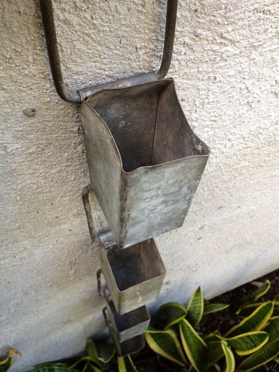 Vintage Industrial Galvanized Rain Chain by greencycledesignLA, $55.00