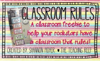 This little freebie is a set of five classroom rules. The rules are in a Rock and Roll theme. I have included black and white as well as a color option for printing. They are also designed to be printed on 11x14 (legal) paper. This size allows the font to be larger so that your students can clearly see/read each rule.