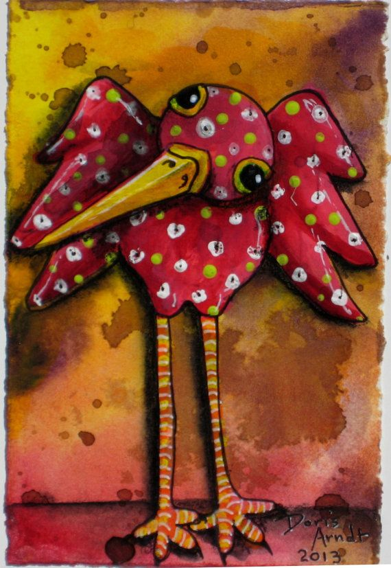 Red Whimsical Bird painting