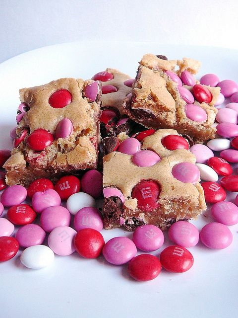Valentine's Day Treats - Blonde Brownies with M and M's recipe - The recipe has less than 10 ingredients