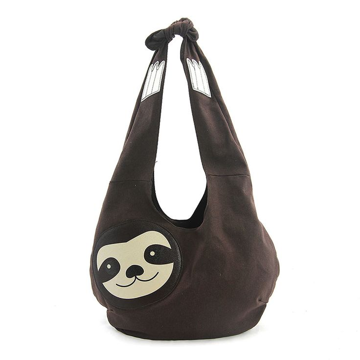 Sleepyville Critters - Hang Loose Sloth Hobo Bag in Canvas Material 86671CN