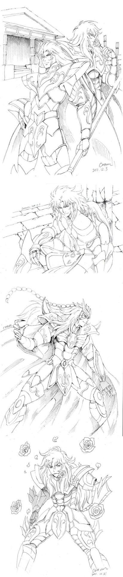 Sea Dragon Kanon, Pisces Aphrodite, Gemini Saga, Virgo Shaka and Scorpio Milo