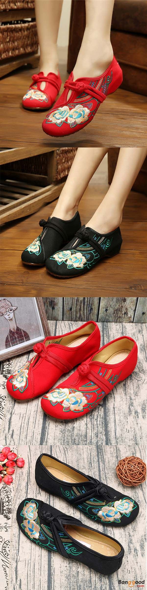 US$18.99 + Free shipping. Women Lace Up Cloth Chinese Embroidered Flower Flat Loafers. Upper Material: Cloth. Shop now!