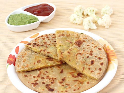 Gobi Paratha - Cauliflower and Potato Stuffed Indian Style Bread for Breakfast