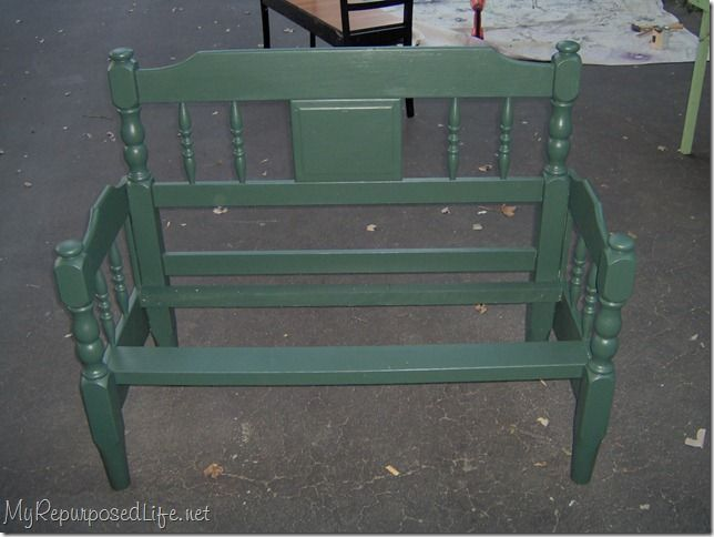 bench from twin bed. scroll down to this pic for the good tutorial