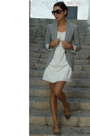 Zara white dress, grey blazer and Mango flats  , Zara in Blazers, Zara in Dresses, Vogue in Glasses / Sunglasses, Les Jumelles in Necklaces, Mango in Flats