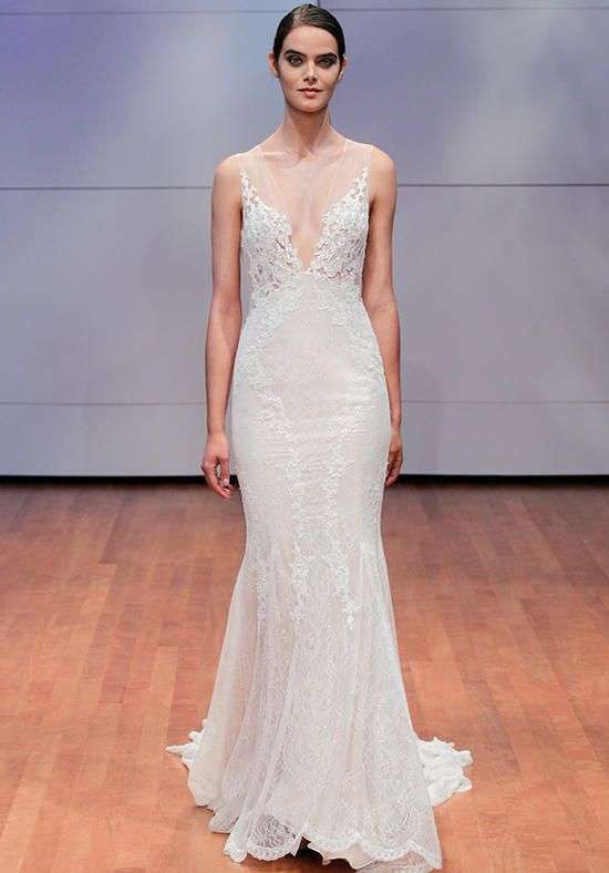 Alyne by Rita Vinieris gown with sheath silhouette, V-neckline, lace appliqués, and embellished lace I Style: Everly I https://www.theknot.com/fashion/everly-alyne-by-rivini-wedding-dress?utm_source=pinterest.com&utm_medium=social&utm_content=june2016&utm_campaign=beauty-fashion&utm_simplereach=?sr_share=pinterest