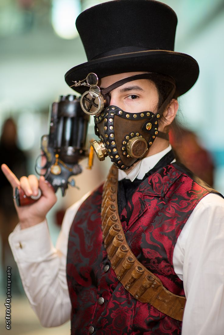 Steampunk Gas Mask Example Steampunk Accessories Example  -Bullet Strap, gun, eye patch, top hat