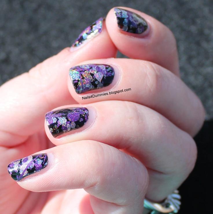 Nails4Dummies - Holographic Paint Splatter Nails