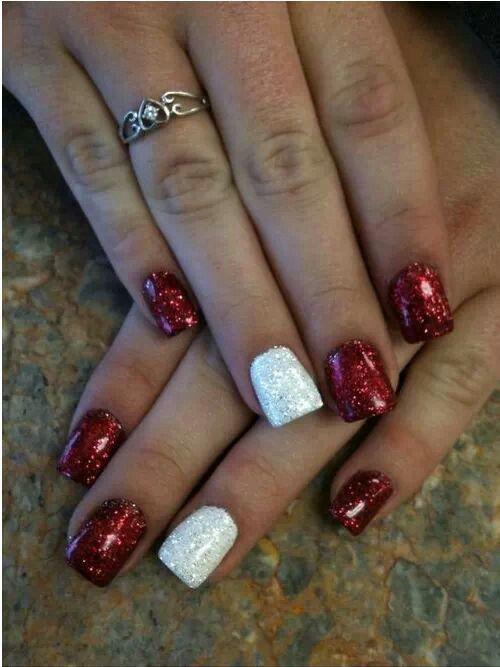 Christmas/ ou sooners nails
