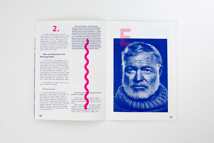 99U Quarterly — Issue 8 on Behance.  I love the combinations of fonts, strong minimal colour scheme, the combination of vector and coloured photographs and the different coloured photos laid on top of each other.