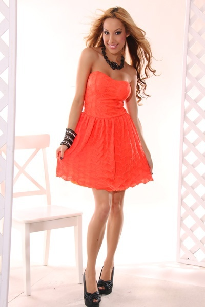 ORANGE SEXY STRAPLESS TEXTURED SWEETHEART NECK MINI DRESS ...
