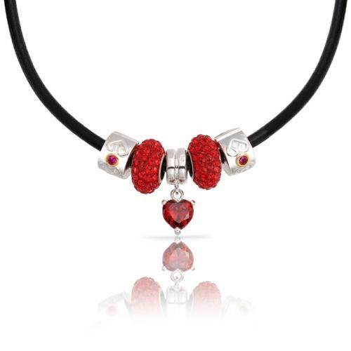 Bling Jewelry 925 Sterling Heart Garnet Color CZ Fits Pandora Bead Necklace 18in