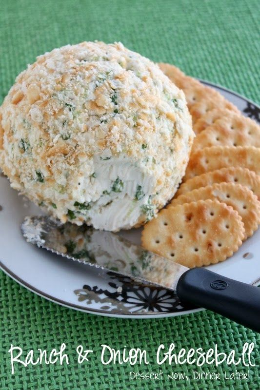 Ranch & Onion Cheeseball - 3 ingredients plus crackers & you have got a delicious snack! DessertNowDinnerLater.com