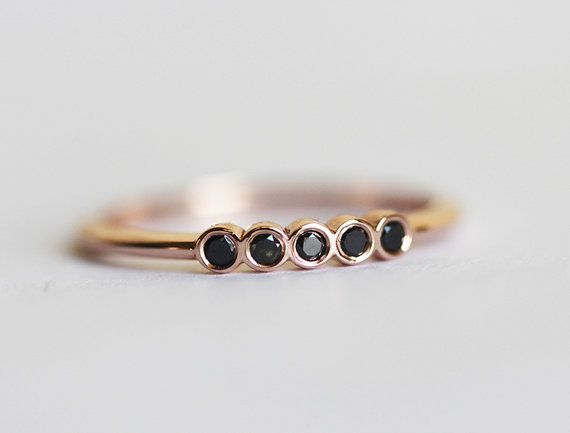 Dainty black diamond rose gold band with 5x 1.5mm sparkly diamonds. Perfect for dainty wedding band or stacking ring. We can also make full eternity