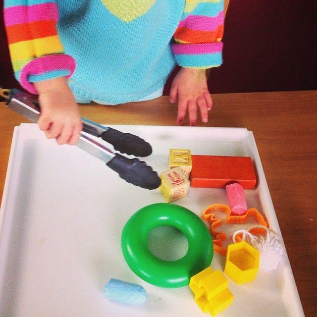 Toddler Activity #9 Tong pick-up #toddleractivities