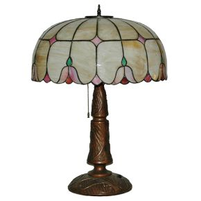 Vintage Slag Glass Leaded Lamp - Floral Art Deco design