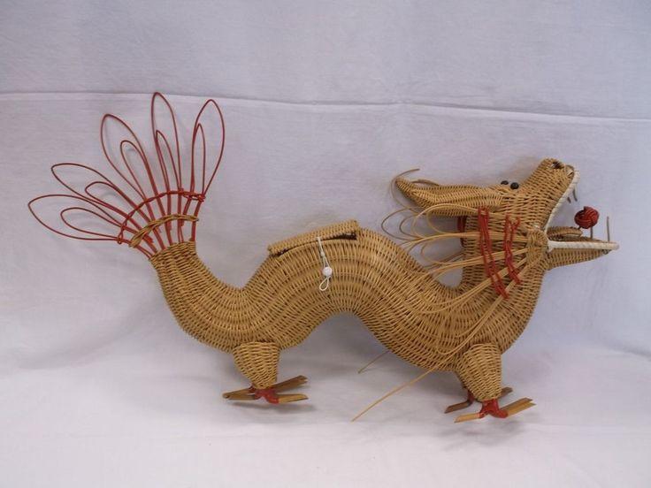 Vintage Wicker Figural Dragon Clutch Purse Handbag From a Collection Listed Now! #UnbrandedbutPossiblyLSkalnyBasketCo #HandbagPurseClutch