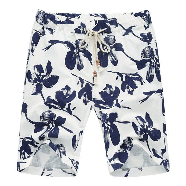 Lace Up Loose Flower Printed Fifth Pants Beach Shorts For Men #jewelry, #women, #men, #hats, #watches