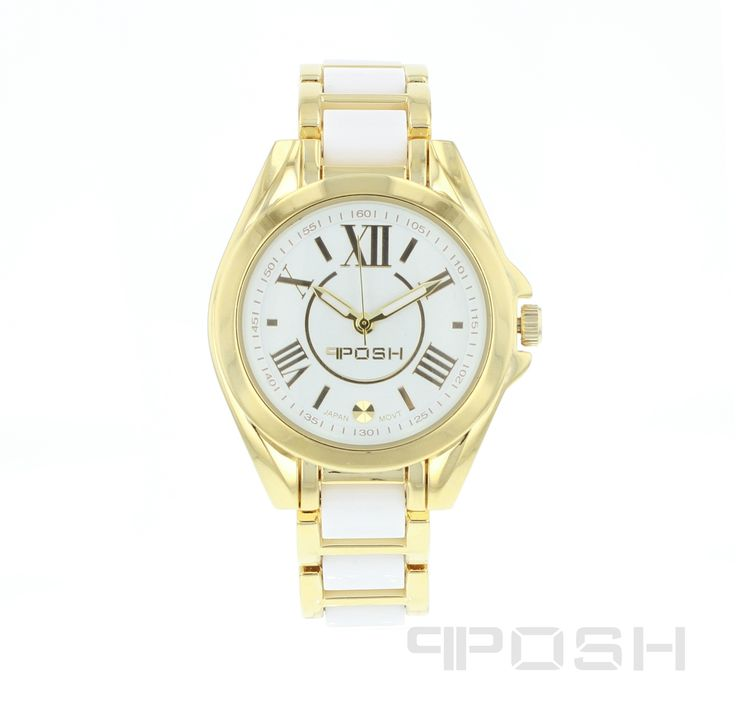 Snow - Watch - Gold Tone and White.  - Trendy roman numeral face design - Made with high quality white acrylic and plated in yellow gold tone - Face features exclusive POSH design - Bracelet and full casing made in stainless steel - Water resistant up to 5 ATM - Extra links available - Japanese movement  Dimensions Face: 30mm diameter   POSH by FERI - Passion for Fashion - Luxury fashion jewelry for the designer in you.  #Jewellery   #watches