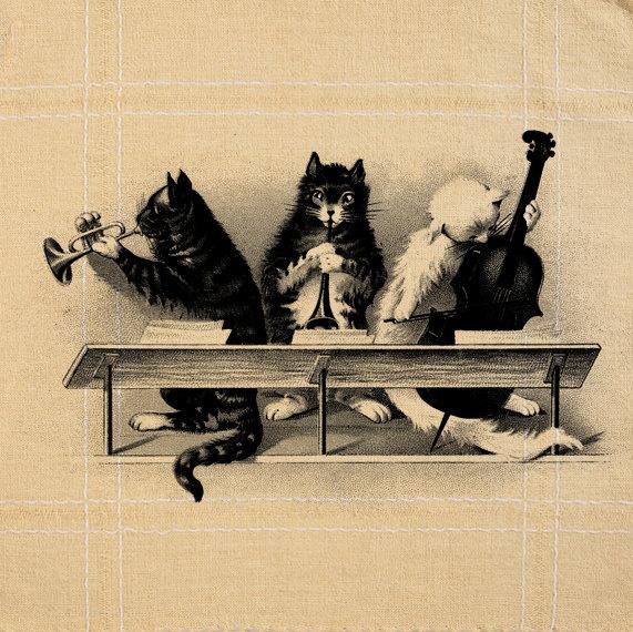 Cat Playing Music Musical Instrument Vintage - Burlap ...