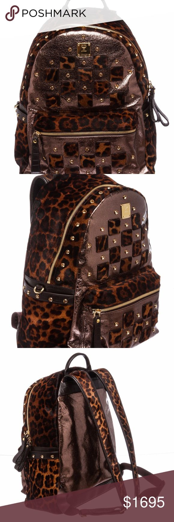 MCM Brown Pony Hair Rhinestone Studded Backpack This special edition brown leopard print pony hair rhinestone studded MCM backpack with gold color hardware, dual adjustable shoulder straps, single rolled handle at top, and zip pocket at front face, brown satin interior lining, expandable wall pocket with zip pocket, one side slip pocket and zip closure at top.   3617MSC MCM Bags Backpacks