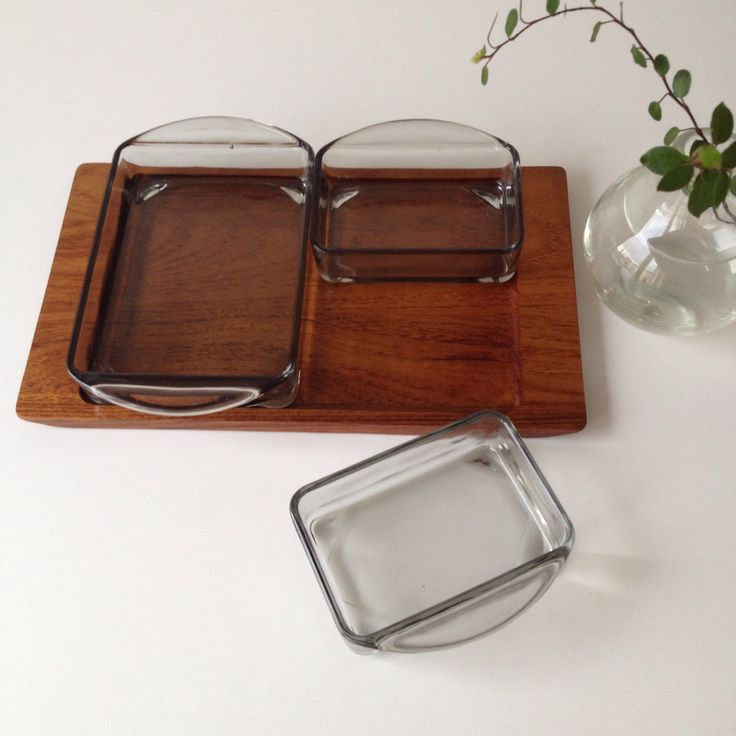 Vintage teak serving tray, mid century modern, danish design, retro snack glass bowl on wood tray. by ReOSL on Etsy