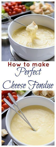 Easy, romantic recipe for Valentine's Day! Three Cheese Fondue. A classic cheese fondue recipe, ideas for fondue dippers, and how to make the perfect cheese fondue every time.