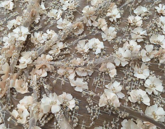 Moda tela tul cordón de la tela del cordón con 3d florales tul