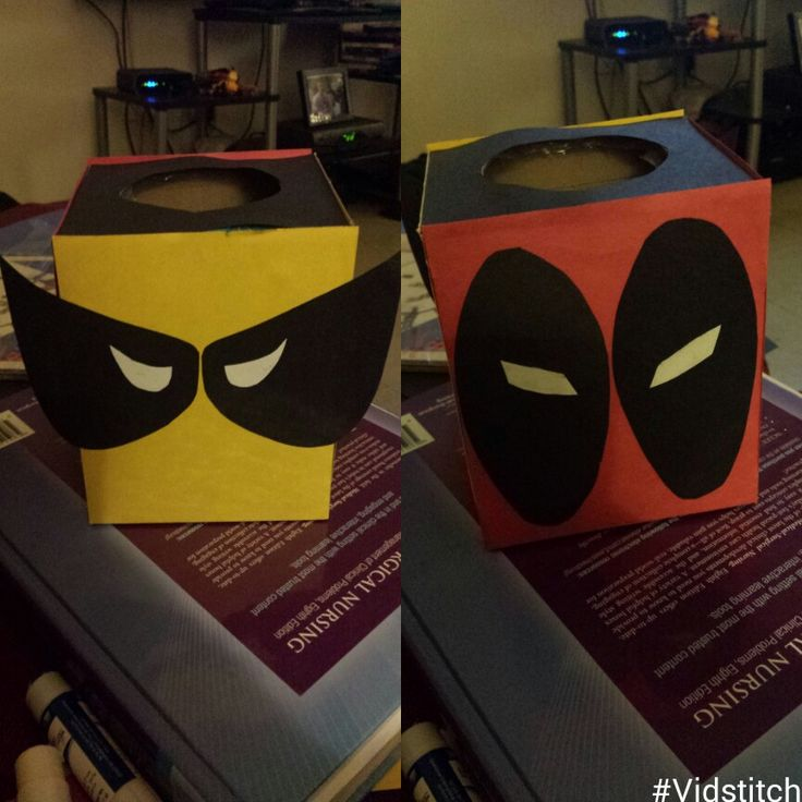 MY OWN DESIGN! Valentines Boxes, Front and back, the other was just taller, boys wanted to match. Simple and Easy! #deadpool #wolverine