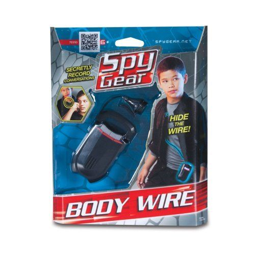 Spy Gear Body Wire by Brybelly. $19.92. This body wire features a record and play bottom, a belt clip, an on/off switch, a speaker, a hidden wire, a clothing clip and a microphone. Great for Adults & Children of ages 6 or older!. Spy Gear Body Wire. Includes retail packaging & intructions. You can secretly record conversations with this high-tech body wire device. Simply slip on the gadget and conceal the wire! Engage your suspect in conversation and they will never kn...