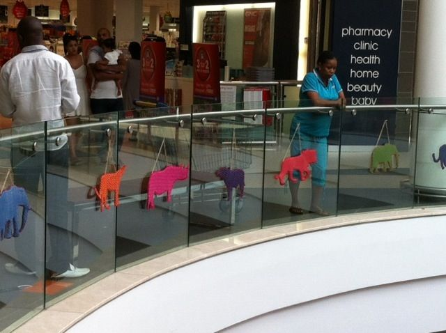 Hand made Shweshwe animals from Africa decorate the Tyger Valley Centre for the Festive Season