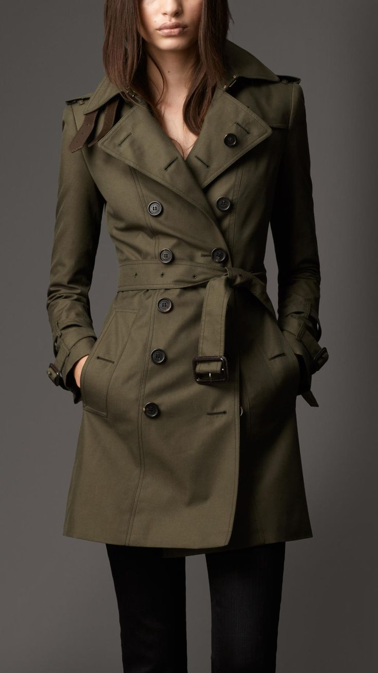 #fallfaves Burberry London Mid-Length Cotton/Gabardine/Leather Detail Heritage Trench Coat in Dark Khaki Green. £1,095. @Burberry
