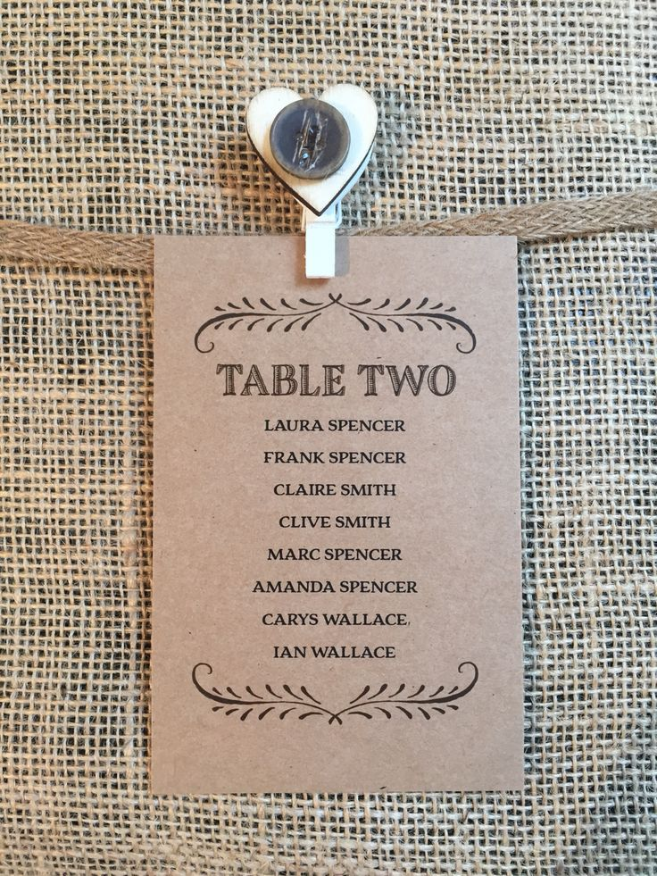 Table cards can be printed on brown card for a rustic feel. Designed to co-ordinate with our rustic romance stationery and favour collection.