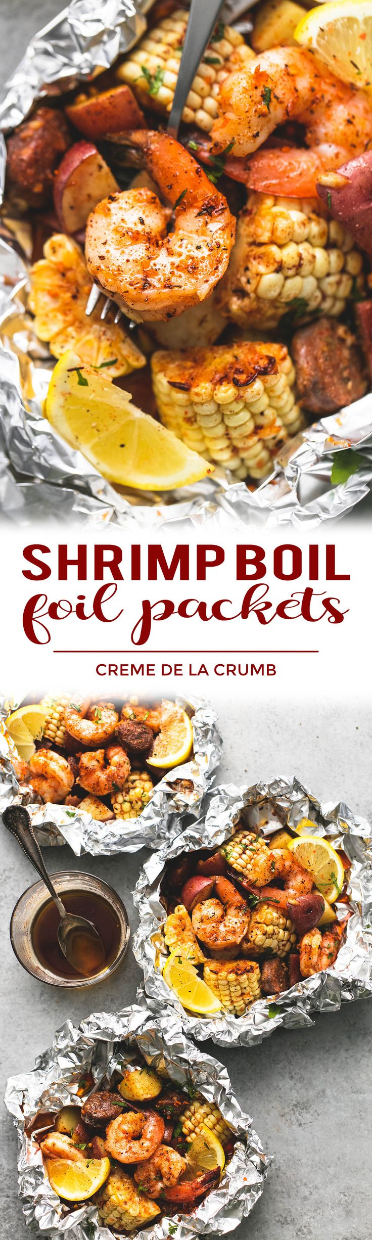 Easy, tasty shrimp boil foil packs baked or grilled with summer veggies, homemade seasoning, fresh lemon, and brown butter sauce. | lecremedelacrumb.com Best recipes!