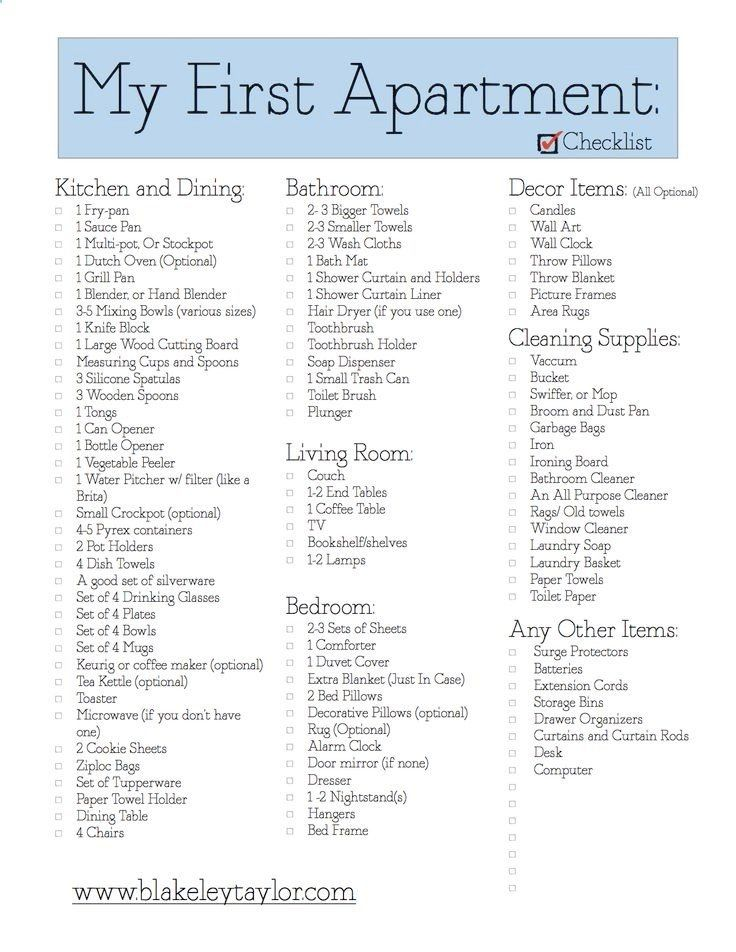 Awesome Living Room Essentials List First Apartment Check List Apartment Checklist First Apartment Apartment Hacks