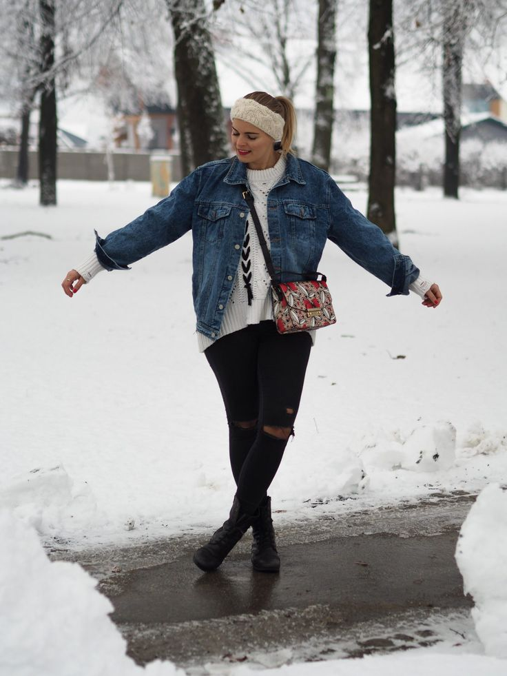 Jeansjacke, Stirnband, Strickpullover, Winterlook, Furla Tasche, Herbstlook, Fashionblogger
