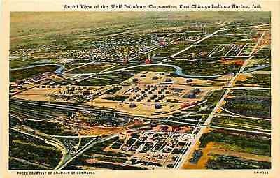 East Chicago Indiana Harbor IN 1938 Shell Corporation Railroad Yards Postcard
