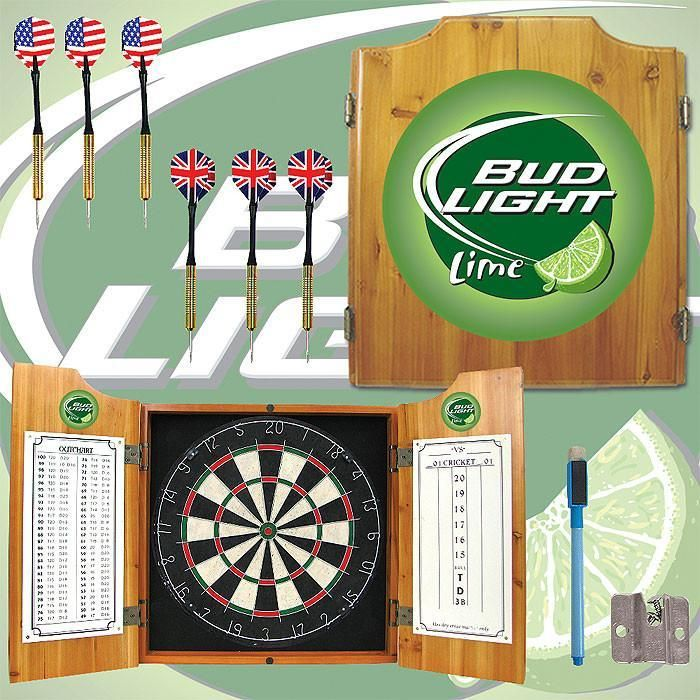 Trademark Commerce AB7000-BLLIME Bud Light Lime Dart Cabinet Includes Darts and Board