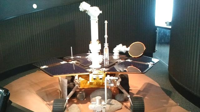 Adler Planetarium features the Spirit Rover robot used in the Mars Mission to explore the surface and collect mineral samples of hematite and rocks.  Displays the robotics Mars Rover used in the planet Mars.