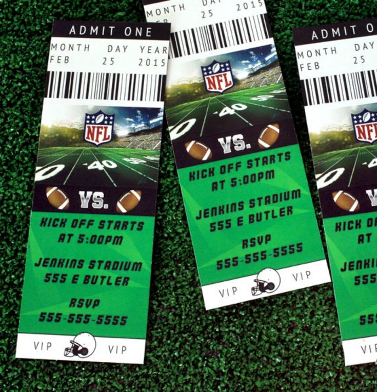 Kick off your game day party with football ticket invitations! Avid fans will appreciate the design—it looks just like the real thing.  Type in your party details, print, cut and send! - Everyday Dishes & DIY