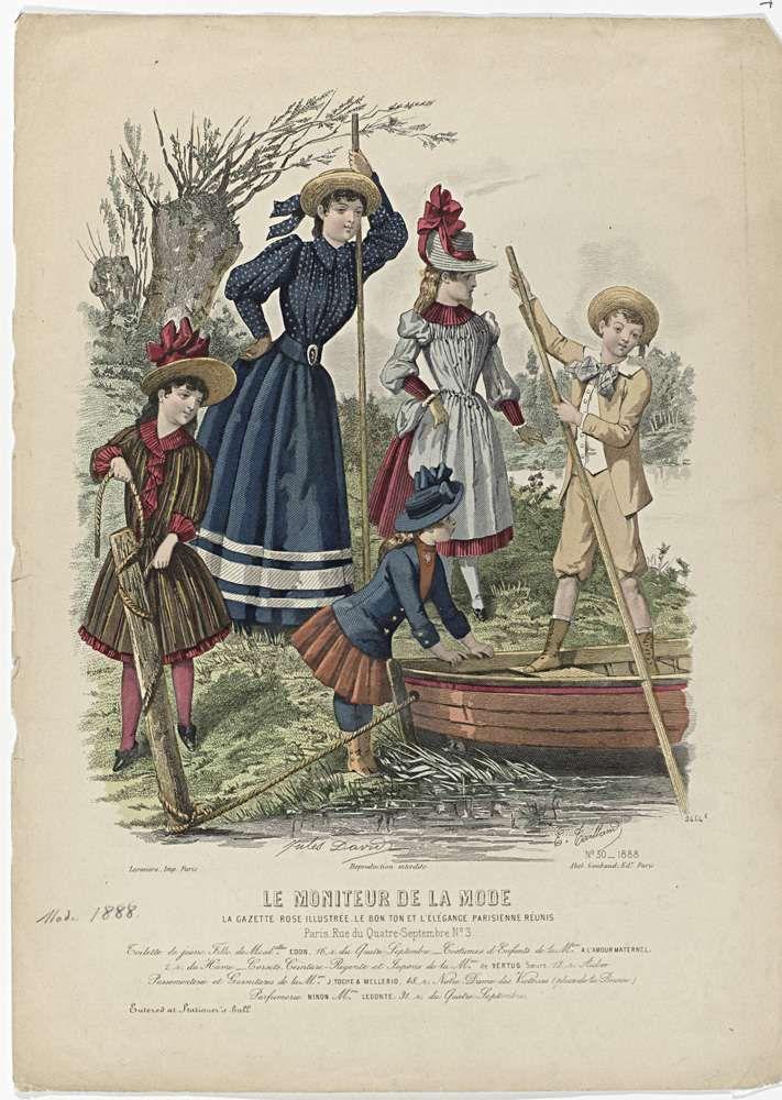Edouard Tailland | Le Moniteur de la Mode, 1888, Nr. 2464e, No. 30 : Toilette de jeune Fille..., Edouard Tailland, Larivière, Abel Goubaud, 1888 | Vier meisjes en een jongen aan de waterkant bij een roeiboot; een meisje is bezig het touw om de meerpaal los te maken. Twee hebben een vaarboom vast. Volgens het onderschrift: jonge vrouw in een 'toilette' van Edon. Kinderkleding van A L'Amour Maternel. Hieronder enkele regels reclametekst voor verschillende producten. Prent uit het…