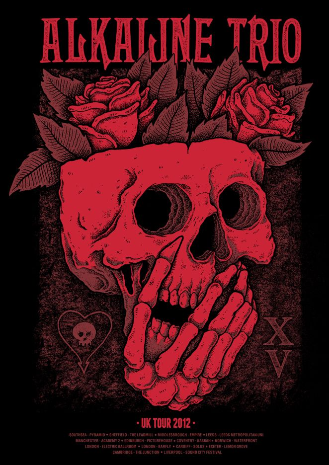 Tour poster for Alkaline Trio.  Sold exclusively on the 15th Anniversary UK tour.  Edition of 150, A2 2 colour prints.    I GOT ONE!!