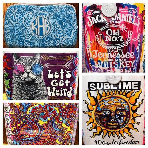 Personalized Painted Coolers by KatHamCraftsAndGifts on Etsy
