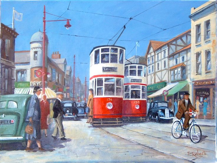 Impressionist sketch of a Blackpool street in 1938.
