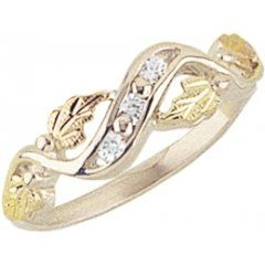 Beautiful! Sterling-silver Yellow-gold Black Hills Gold Women's CZ channel set Ring Size 6: Jewelry